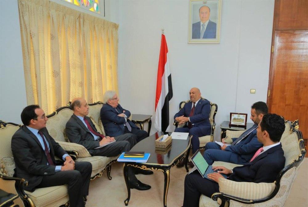وزير الخارجية يناقش مع المبعوث الأممي اجراءات بناء الثقة ومسار السلام